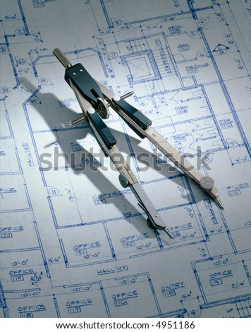 Blue Print & Compass - stock photo