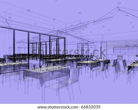 blue print linear project of a restaurant - stock photo