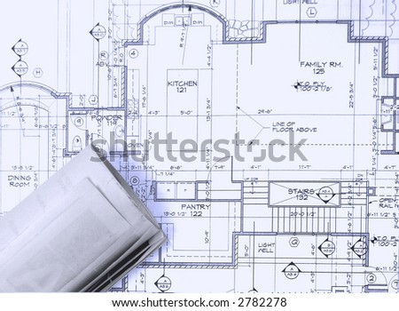 blue prints on the table - stock photo
