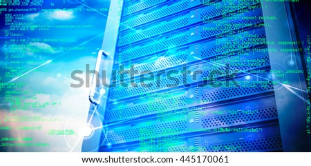 Blue programme against composite image of server tower
