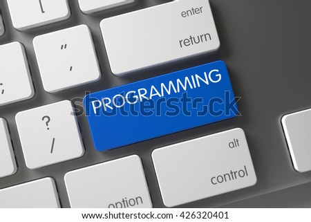 Blue Programming Keypad on Keyboard. Programming Concept: Computer Keyboard with Programming, Selected Focus on Blue Enter Button. Programming on Modern Keyboard Background. 3D. - stock photo