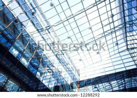 Blue protection ceiling inside business centre
