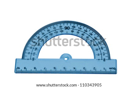 Blue protractor isolated on white background - stock photo