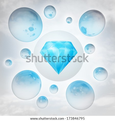 blue pure diamond with glossy bubbles in the air with flare illustration