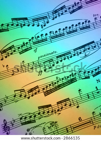 Blue,purple,green and gold rainbow colored sheet music background - stock photo