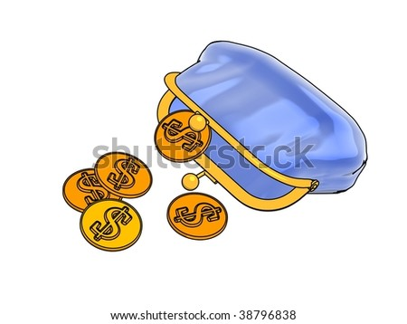 Blue purse and money - stock photo