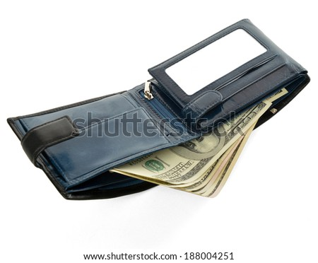 Blue purse with dollars isolated on white background.