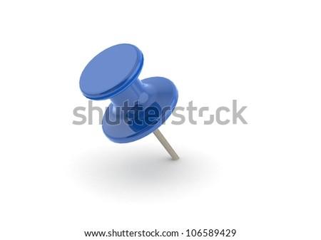 Blue push pin - stock photo