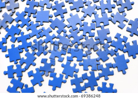 Blue puzzle - stock photo