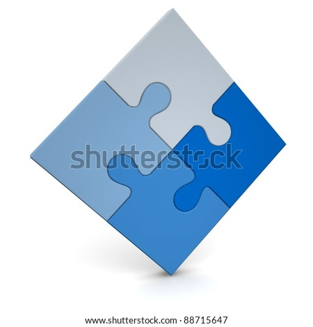 Blue puzzle. It may be logo. - stock photo