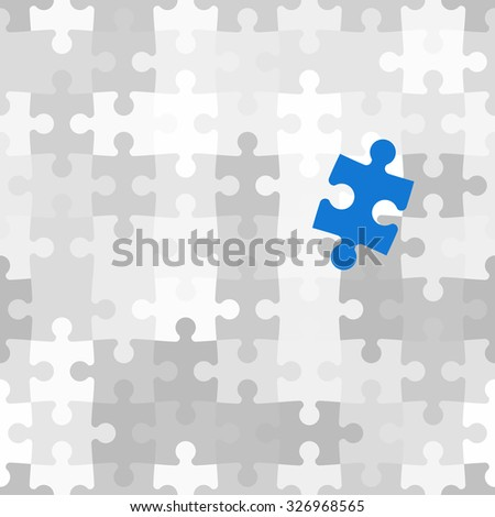 Blue puzzle piece different from another grey ones, raster illustration - stock photo