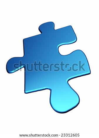 Blue puzzle piece isolated on white background - stock photo