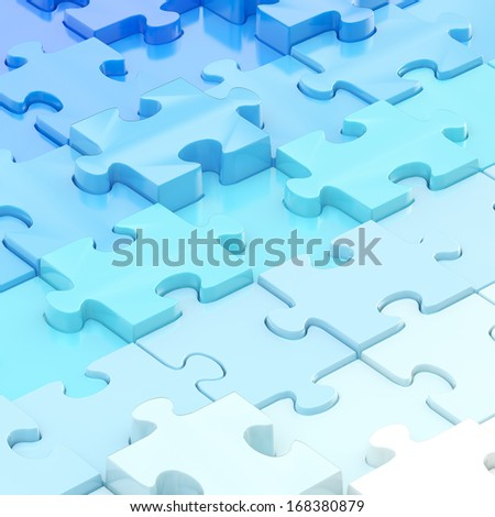 Blue puzzle pieces covered surface as an abstract background composition - stock photo