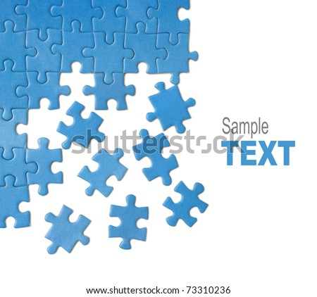 blue puzzle pieces design isolated over white background. Business solution concept.