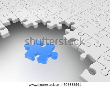 Blue puzzle surrounded by white puzzles - stock photo