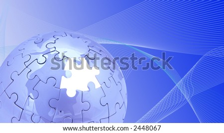 blue puzzle world on white background, space for messages - stock photo