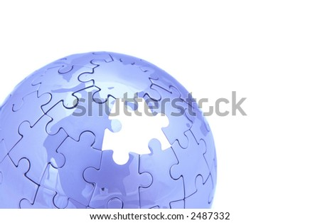 blue puzzle world on white background, space for messages