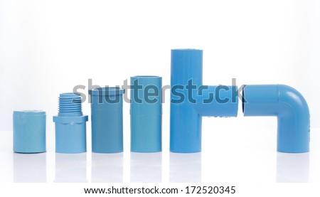 Blue pvc pipe connection with valve isolated on white - stock photo
