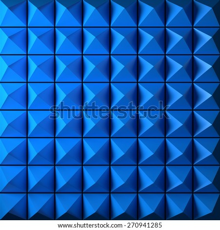 Blue pyramid as abstract background. 3D rendered pattern. - stock photo
