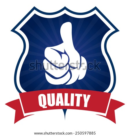 blue quality badge, sticker, icon, label isolated on white - stock photo
