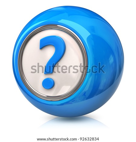 Blue question icon - stock photo
