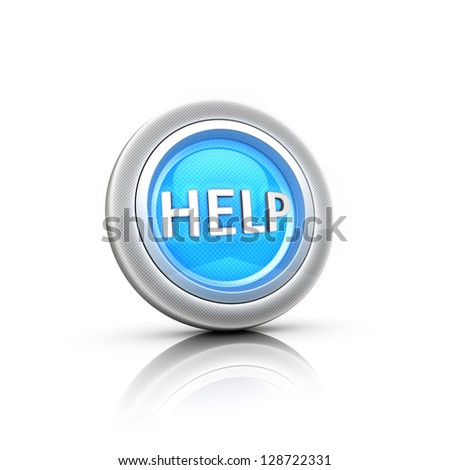 Blue question mark button. - stock photo