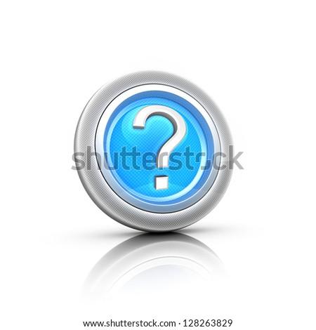 Blue question mark button. Vector illustration. - stock photo