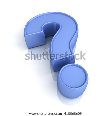 Blue question mark isolated over white background with reflection and shadow. 3D rendering. - stock photo