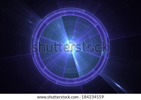 Blue radar or sonar screen - stock photo