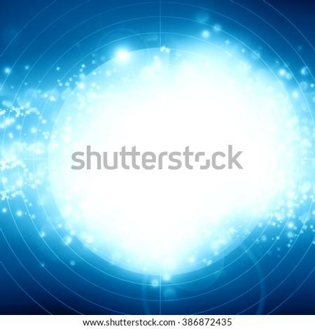 Blue radar screen - stock photo