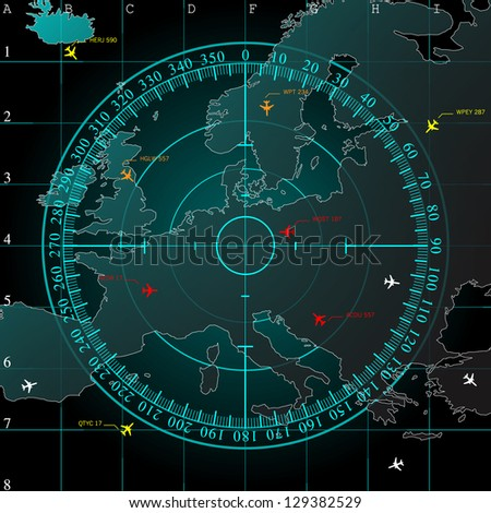 Blue radar screen over square grid lines, and map of Europe territory with smooth light beneath, raster copy - stock photo