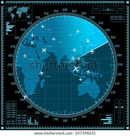 Blue radar screen with planes and world map. Raster version of the illustration. - stock photo