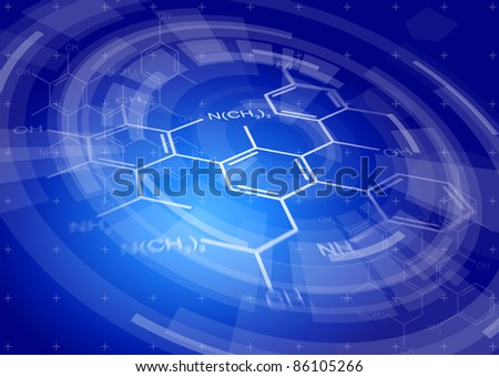 Blue radial technology background & chemical formulas. Bitmap copy my vector ID 81171733 - stock photo