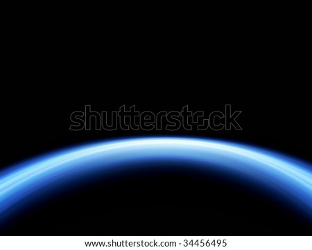 Blue ray over black background. Abstract illustration