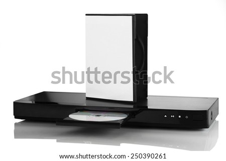 Blue Ray player with a disk on a white background closeup - stock photo