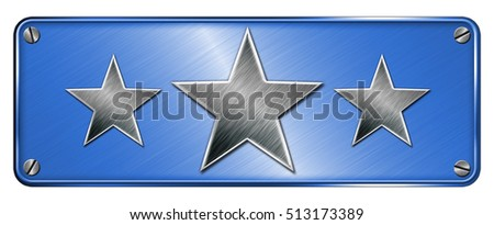 Blue Realistic metallic chrome steel 3 star shapes on banner or metal plate.