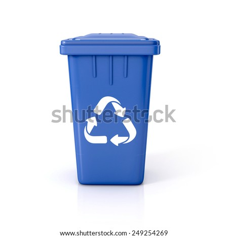 Blue Recycle bin with recycle sign. 3d illustration isolated on white.