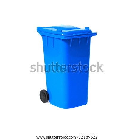 blue recycling bin - stock photo