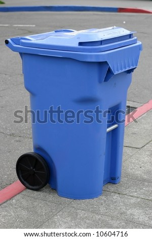 blue recycling container - stock photo