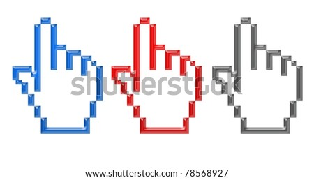 blue, red and gray hands cursors isolated over white background - stock photo