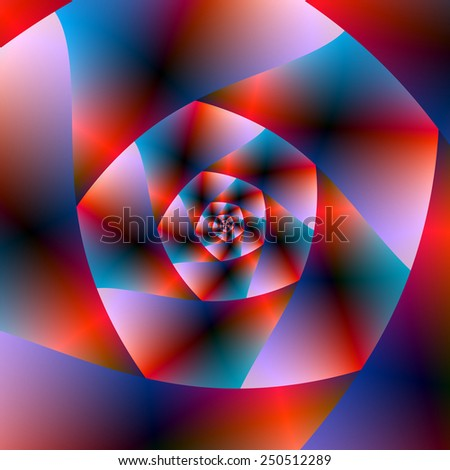 Blue Red and Pink Spiral / A digital abstract fractal image with a spiral design in red, blue and pink.