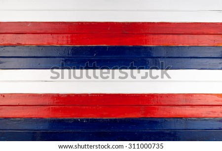 Blue, red and white  painted wooden planks background. - stock photo