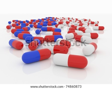 Blue-Red and White-Red Pills on white - stock photo