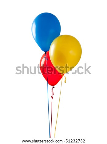 Blue, red and yellow balloon on a white background - stock photo