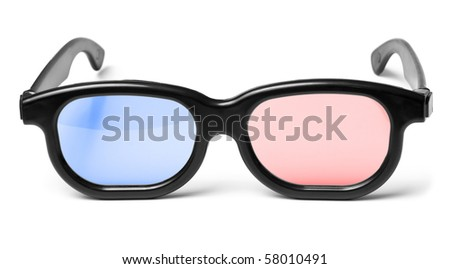 Blue red 3D cinema glasses - stock photo