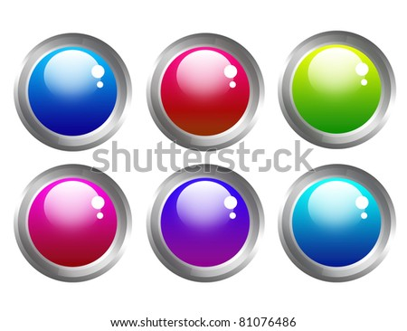 blue, red, green, pink, violet buttons web isolated over white background