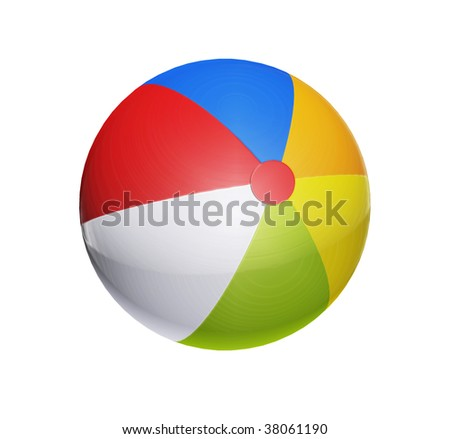 Blue, red, white, orange and green ball toy over white background