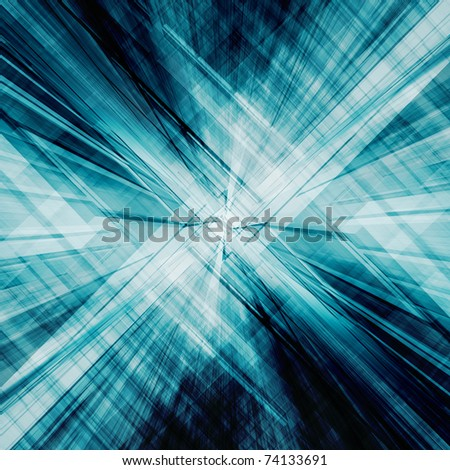 Blue reflections. Conceptual abstract technology - stock photo