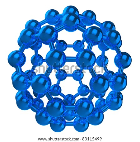 blue reflective fullerene molecular structure isolated on white - stock photo