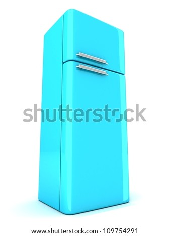 blue refrigerator on white background - stock photo